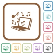 Laptop music simple icons in color rounded square frames on white background - Laptop music simple icons