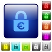 Locked euros icons in rounded square color glossy button set - Locked euros color square buttons