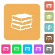 Books icons on rounded square vivid color backgrounds. - Books rounded square flat icons