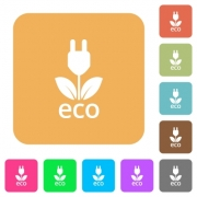 Eco energy icons on rounded square vivid color backgrounds. - Eco energy rounded square flat icons