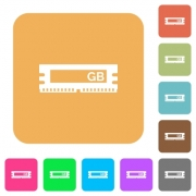 RAM module icons on rounded square vivid color backgrounds. - RAM module rounded square flat icons