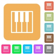 Piano keyboard icons on rounded square vivid color backgrounds. - Piano keyboard rounded square flat icons