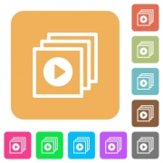 Play files icons on rounded square vivid color backgrounds. - Play files rounded square flat icons