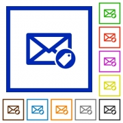 Tagging mail flat color icons in square frames on white background - Tagging mail flat framed icons