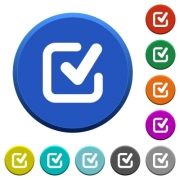 Checkmark round color beveled buttons with smooth surfaces and flat white icons - Checkmark beveled buttons