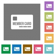 Member card flat icons on simple color square backgrounds - Member card square flat icons