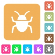 Bug icons on rounded square vivid color backgrounds. - Bug rounded square flat icons