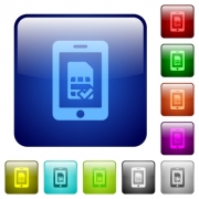 Mobile simcard verified icons in rounded square color glossy button set - Mobile simcard verified color square buttons
