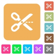 Cut out icons on rounded square vivid color backgrounds. - Cut out rounded square flat icons