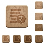 Indian Rupee coins on rounded square carved wooden button styles - Indian Rupee coins wooden buttons