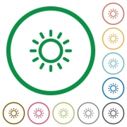 Brightness control flat color icons in round outlines on white background