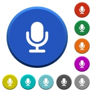Microphone round color beveled buttons with smooth surfaces and flat white icons - Microphone beveled buttons - Large thumbnail