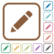 Pencil simple icons in color rounded square frames on white background - Pencil simple icons - Large thumbnail
