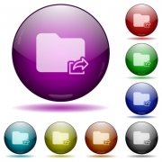 Export folder icons in color glass sphere buttons with shadows - Export folder glass sphere buttons