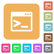 Command prompt icons on rounded square vivid color backgrounds. - Command prompt rounded square flat icons