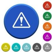 Warning sign round color beveled buttons with smooth surfaces and flat white icons - Warning sign beveled buttons