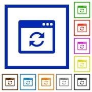Application syncronize flat color icons in square frames on white background - Application syncronize flat framed icons