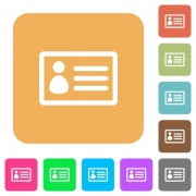 ID card icons on rounded square vivid color backgrounds. - ID card rounded square flat icons