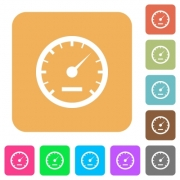 Speedometer icons on rounded square vivid color backgrounds. - Speedometer rounded square flat icons