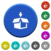 Pack round color beveled buttons with smooth surfaces and flat white icons - Pack beveled buttons