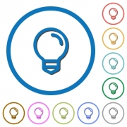 Light bulb flat color vector icons with shadows in round outlines on white background - Light bulb icons with shadows and outlines