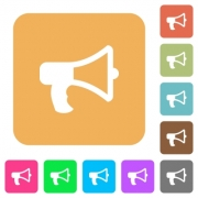 Megaphone icons on rounded square vivid color backgrounds. - Megaphone rounded square flat icons