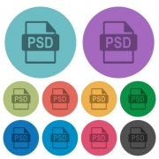 PSD file format darker flat icons on color round background - PSD file format color darker flat icons