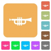 Trumpet icons on rounded square vivid color backgrounds. - Trumpet rounded square flat icons