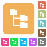 Folder structure icons on rounded square vivid color backgrounds. - Folder structure rounded square flat icons