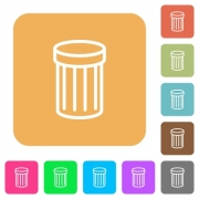 Trash icons on rounded square vivid color backgrounds. - Trash rounded square flat icons