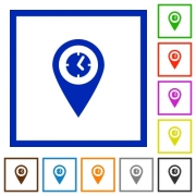 Location arrival time flat color icons in square frames on white background - Location arrival time flat framed icons