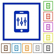 Smartphone tweaking flat color icons in square frames on white background - Smartphone tweaking flat framed icons