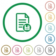 Save document flat color icons in round outlines on white background