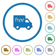 Free shipping flat color vector icons with shadows in round outlines on white background - Free shipping icons with shadows and outlines