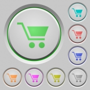 Empty shopping cart color icons on sunk push buttons - Empty shopping cart push buttons