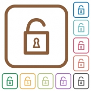 Unlocked padlock simple icons in color rounded square frames on white background - Unlocked padlock simple icons