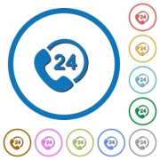 One day service flat color vector icons with shadows in round outlines on white background - One day service icons with shadows and outlines