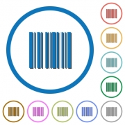 Barcode flat color vector icons with shadows in round outlines on white background - Barcode icons with shadows and outlines