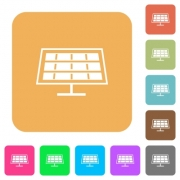 Solar panel flat icons on rounded square vivid color backgrounds. - Solar panel rounded square flat icons