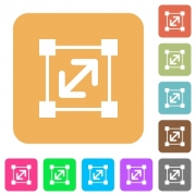 Resize element flat icons on rounded square vivid color backgrounds. - Resize element rounded square flat icons