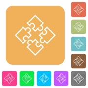 Puzzle pieces flat icons on rounded square vivid color backgrounds. - Puzzle pieces rounded square flat icons