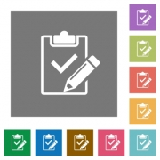 Fill out checklist flat icons on simple color square backgrounds - Fill out checklist square flat icons