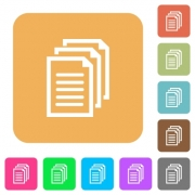 Documents flat icons on rounded square vivid color backgrounds. - Documents rounded square flat icons