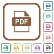 PDF file format simple icons in color rounded square frames on white background - PDF file format simple icons