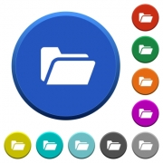 Folder open round color beveled buttons with smooth surfaces and flat white icons - Folder open beveled buttons