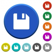 Save data round color beveled buttons with smooth surfaces and flat white icons - Save data beveled buttons