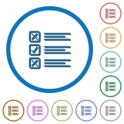 Questionnaire flat color vector icons with shadows in round outlines on white background - Questionnaire icons with shadows and outlines