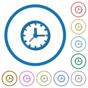 Clock flat color vector icons with shadows in round outlines on white background - Clock icons with shadows and outlines
