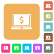 Laptop with Dollar sign flat icons on rounded square vivid color backgrounds. - Laptop with Dollar sign rounded square flat icons