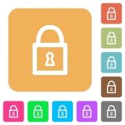 Locked padlock flat icons on rounded square vivid color backgrounds. - Locked padlock rounded square flat icons